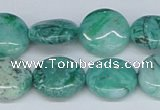 CAB163 15.5 inches 16mm flat round green crazy lace agate beads