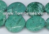 CAB164 15.5 inches 20mm flat round green crazy lace agate beads