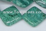CAB168 15.5 inches 20*20mm diamond green crazy lace agate beads