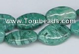 CAB170 15.5 inches 12*20mm oval green crazy lace agate beads