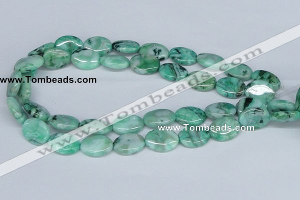CAB171 15.5 inches 15*20mm oval green crazy lace agate beads