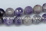 CAB181 15.5 inches 10mm faceted round purple crazy lace agate beads