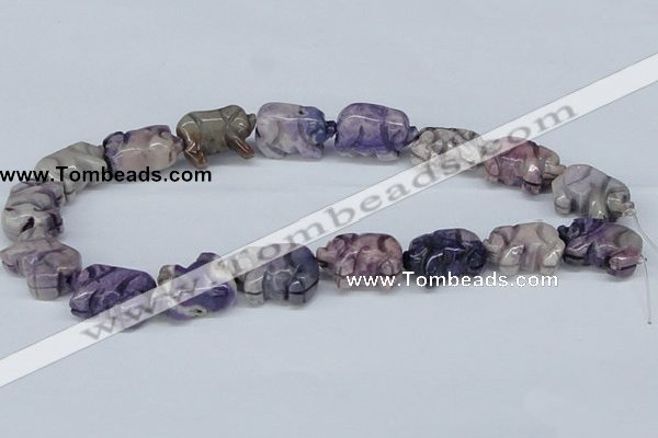 CAB187 15.5 inches 12*16*24mm pig-shaped purple crazy lace agate beads