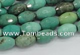 CAB19 15.5 inches 8*12mm faceted rice green grass agate beads