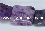CAB198 15.5 inches 25*25mm square purple crazy lace agate beads