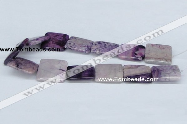 CAB199 15.5 inches 30*30mm square purple crazy lace agate beads