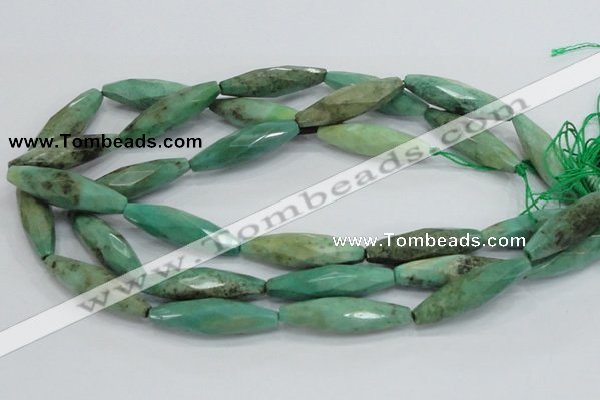 CAB22 15.5 inches 11*40mm faceted rice green grass agate beads