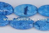 CAB228 15.5 inches 15*25mm oval blue crazy lace agate beads