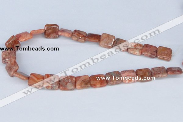 CAB240 15.5 inches 16*16mm square mahogany crazy lace agate beads
