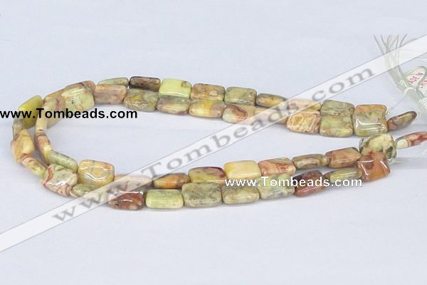 CAB257 15.5 inches 12*16mm rectangle lemon crazy lace agate beads