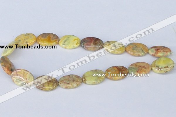 CAB263 15.5 inches 18*25mm oval lemon crazy lace agate beads