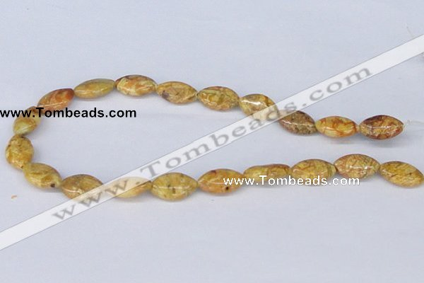 CAB265 15.5 inches 12*20mm horse eye lemon crazy lace agate beads