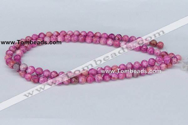CAB270 15.5 inches 8mm round fuchsia crazy lace agate beads