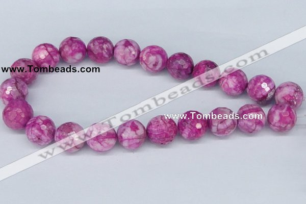 CAB273 15.5 inches 18mm faceted round fuchsia crazy lace agate beads
