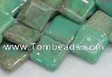 CAB28 15.5 inches 16*16mm diamond green grass agate gemstone beads