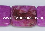 CAB285 15.5 inches 30*30mm square fuchsia crazy lace agate beads
