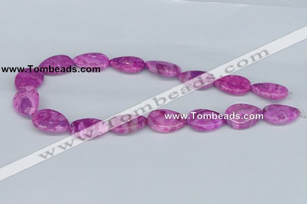 CAB303 15.5 inches 18*25mm flat teardrop fuchsia crazy lace agate beads