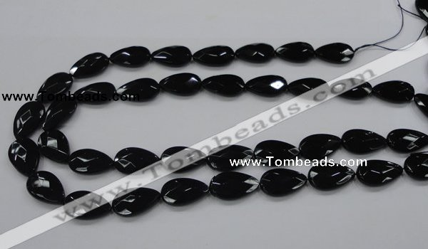 CAB316 15.5 inches 12*20mm faceted teardrop black agate gemstone beads