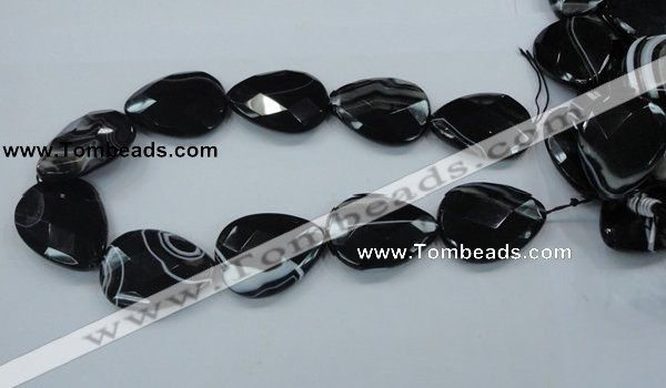 CAB317 15.5 inches 30*40mm faceted teardrop black agate gemstone beads