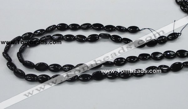 CAB318 15.5 inches 8*12mm oval black agate gemstone beads wholesale