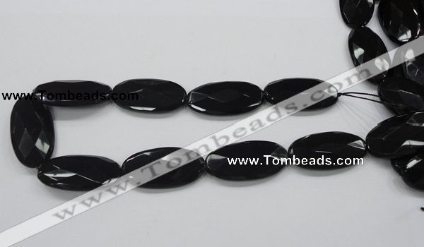CAB321 15.5 inches 20*40mm faceted oval black agate gemstone beads