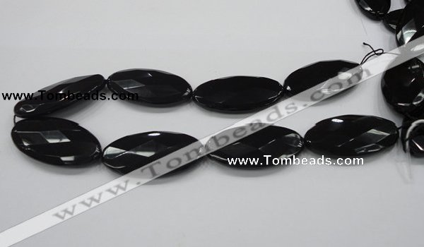 CAB322 15.5 inches 25*50mm faceted oval black agate gemstone beads