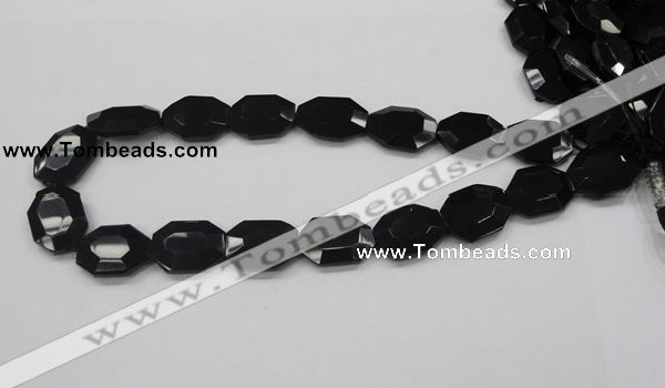 CAB325 15.5 inches 18*24mm faceted octagonal black agate gemstone beads