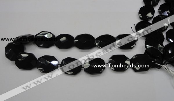 CAB326 15.5 inches 25*30mm faceted octagonal black agate gemstone beads