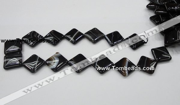 CAB327 15.5 inches 20*20mm diamond black agate gemstone beads