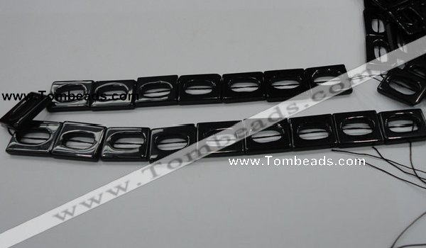 CAB328 15.5 inches 18*24mm hollow rectangle black agate gemstone beads