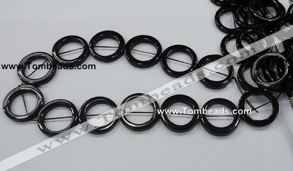 CAB329 15.5 inches 30mm donut shape black agate gemstone beads