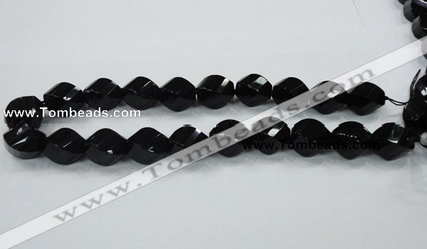 CAB338 15.5 inches 18*24mm faceted & twisted rice black agate beads