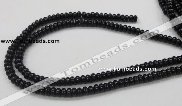 CAB339 15.5 inches 4*8mm rondelle black agate gemstone beads