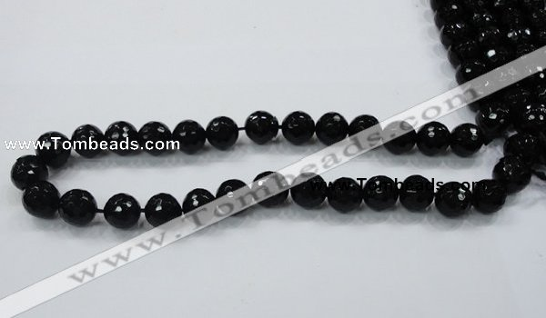 CAB344 15.5 inches 10mm faceted round black agate gemstone beads