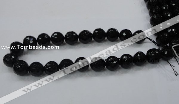 CAB346 15.5 inches 18mm faceted round black agate gemstone beads