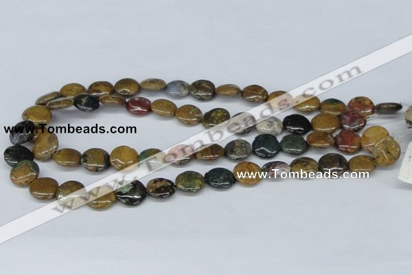 CAB366 15.5 inches 14mm flat round ocean agate gemstone beads