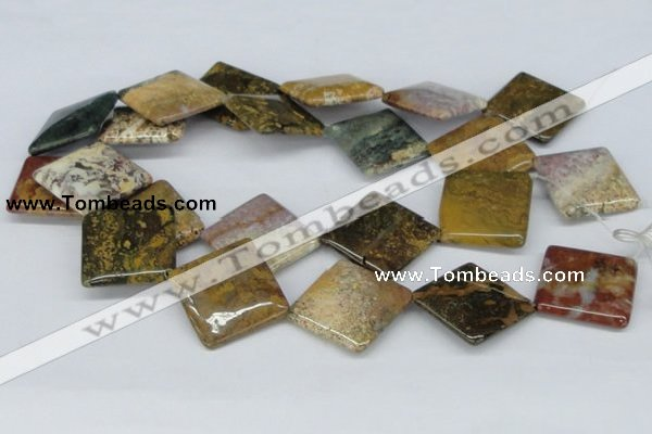 CAB379 15.5 inches 30*30mm diamond ocean agate gemstone beads