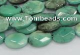 CAB38 15.5 inches 10*14mm faceted oval green grass agate beads
