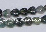 CAB405 15.5 inches 10*10mm heart moss agate gemstone beads wholesale