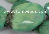 CAB44 15.5 inches 30*40mm faceted oval green grass agate beads