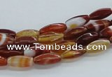 CAB480 15.5 inches 5*12mm faceted rice red agate beads wholesale