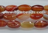 CAB481 15.5 inches 8*15mm faceted rice red agate beads wholesale