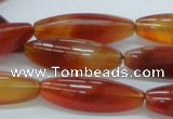 CAB483 15.5 inches 10*30mm faceted rice red agate beads wholesale