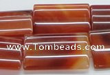 CAB487 15.5 inches 22*30mm flat tube red agate beads wholesale