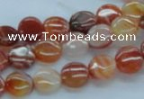 CAB488 15.5 inches 10mm flat round red agate beads wholesale