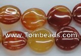 CAB490 15.5 inches 16mm flat round red agate beads wholesale