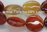 CAB491 15.5 inches 20mm flat round red agate beads wholesale