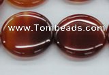 CAB492 15.5 inches 25mm flat round red agate beads wholesale
