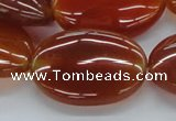 CAB498 15.5 inches 25*35mm oval red agate gemstone beads wholesale