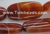 CAB499 15.5 inches 20*40mm oval red agate gemstone beads wholesale